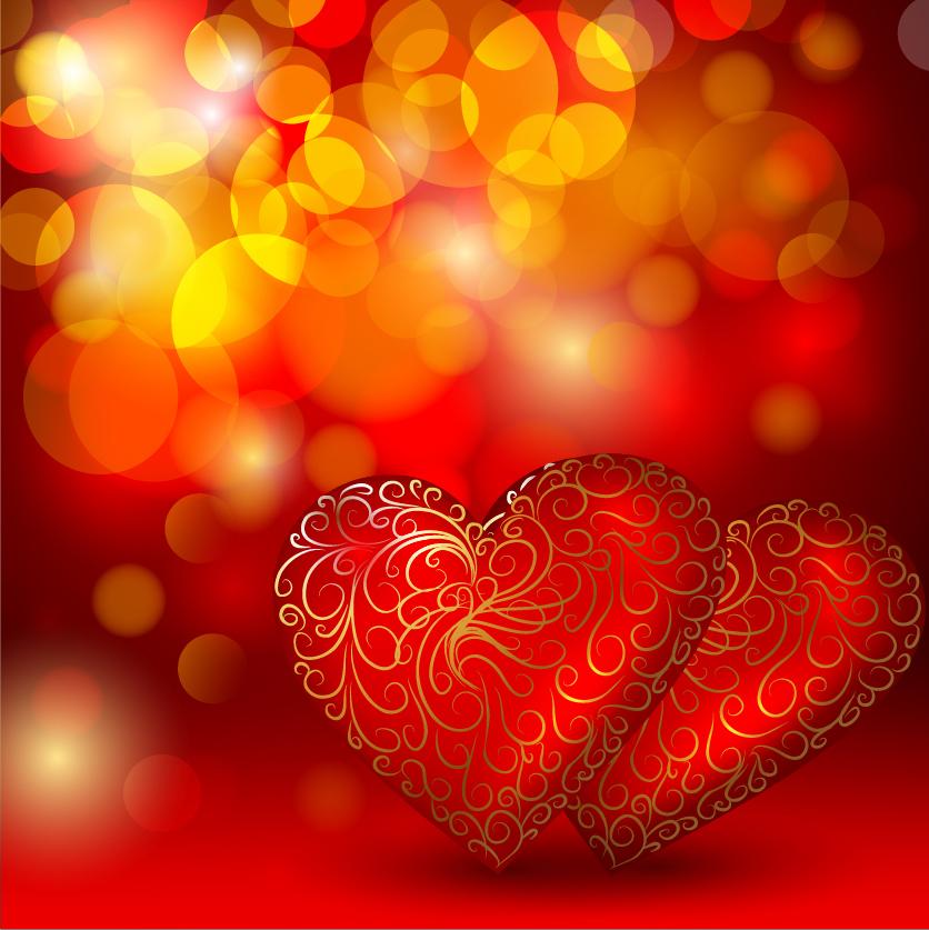 金色模様のハート型背景 beautiful red heart background イラスト素材