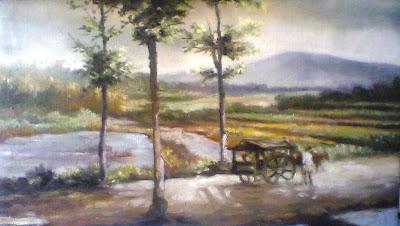 lukisan karya toto sukatma,Lukisan suasana pedesaan,lukisan pemandangan sawah,lukisan panen,lukisan di desa