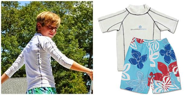 White Rash Guard and Royal Red Board Shorts; Boys Swimwear by Snapper Rock