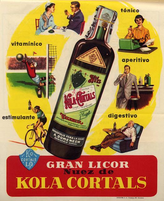 Licor nuez de Kola, etiqueta, efimera,