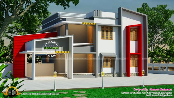 Beautiful modern home in 2 different elevations kerala for Different elevations of house
