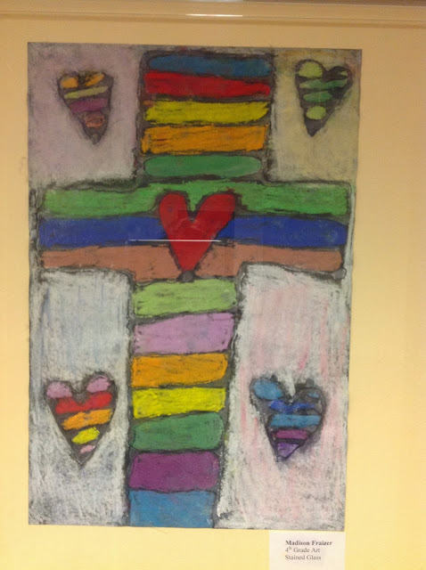 4th Grade Stained Glass with Glue Resist and Chalk Pastels Art Lesson