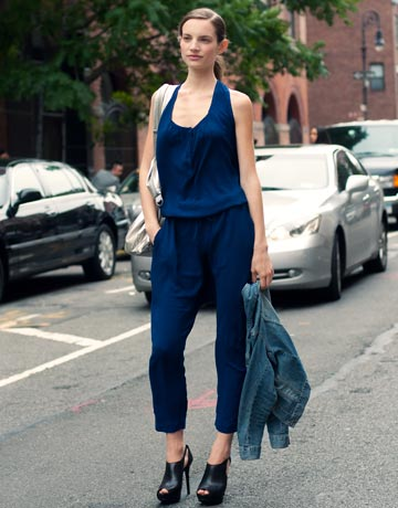 how to wear a jumpsuit with a jacket