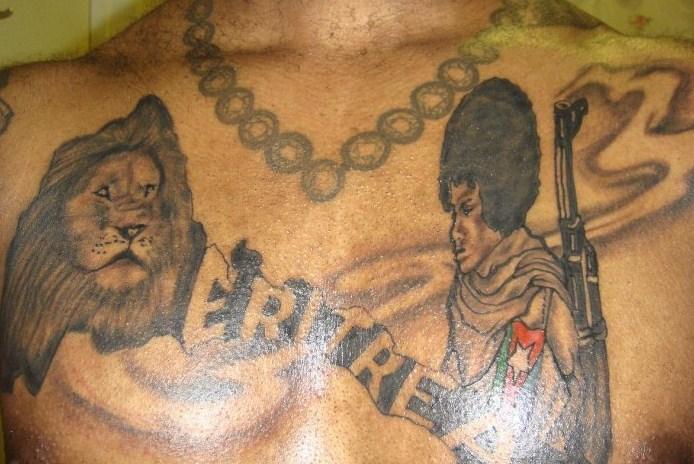 Ethiopian Flag Tattoo Chest tattoo of Eritrea and