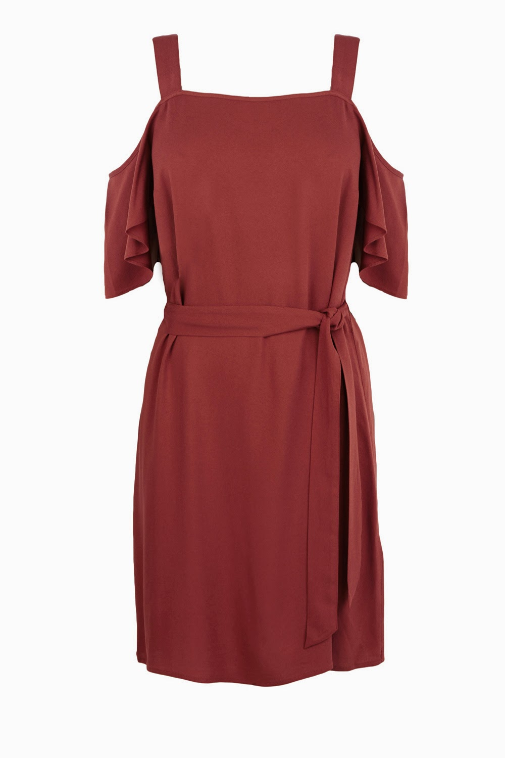 warehouse strap shoulder rust dress,