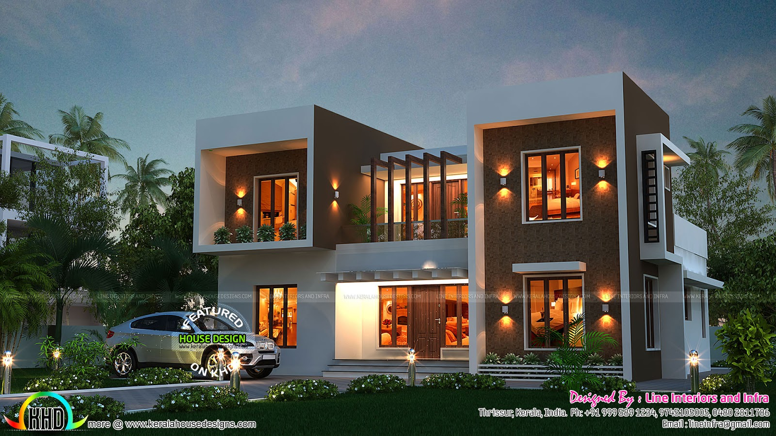 Stunning box type home kerala home design and floor plans for House model design photos