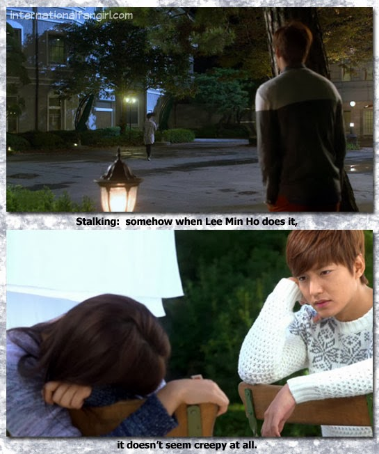 Kim Tan (Lee Min Ho) stalks Cha Eun Sang (Park Shin Hye) and it's not creepy at all!
