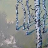 Acryl, kunst, birketræer, Ayoe Pløger, maleri