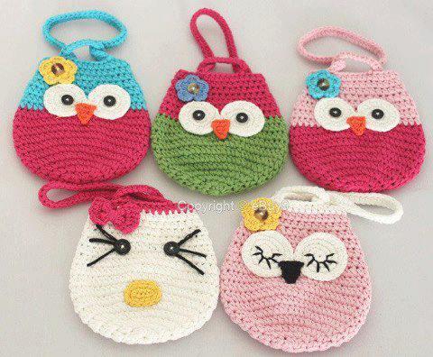 Crochet Bags For Kids Free Pattern : Lily-Baby-Shop: Bolsinhas de Corujinhas em Croche para Lembrancinhas ...
