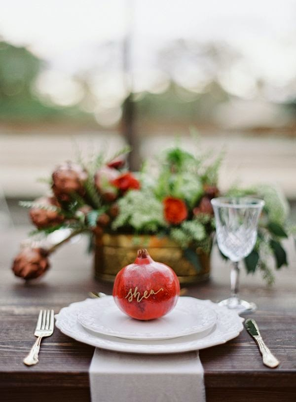 12 Party Ways To Use Calligraphy; pomegranate place cards