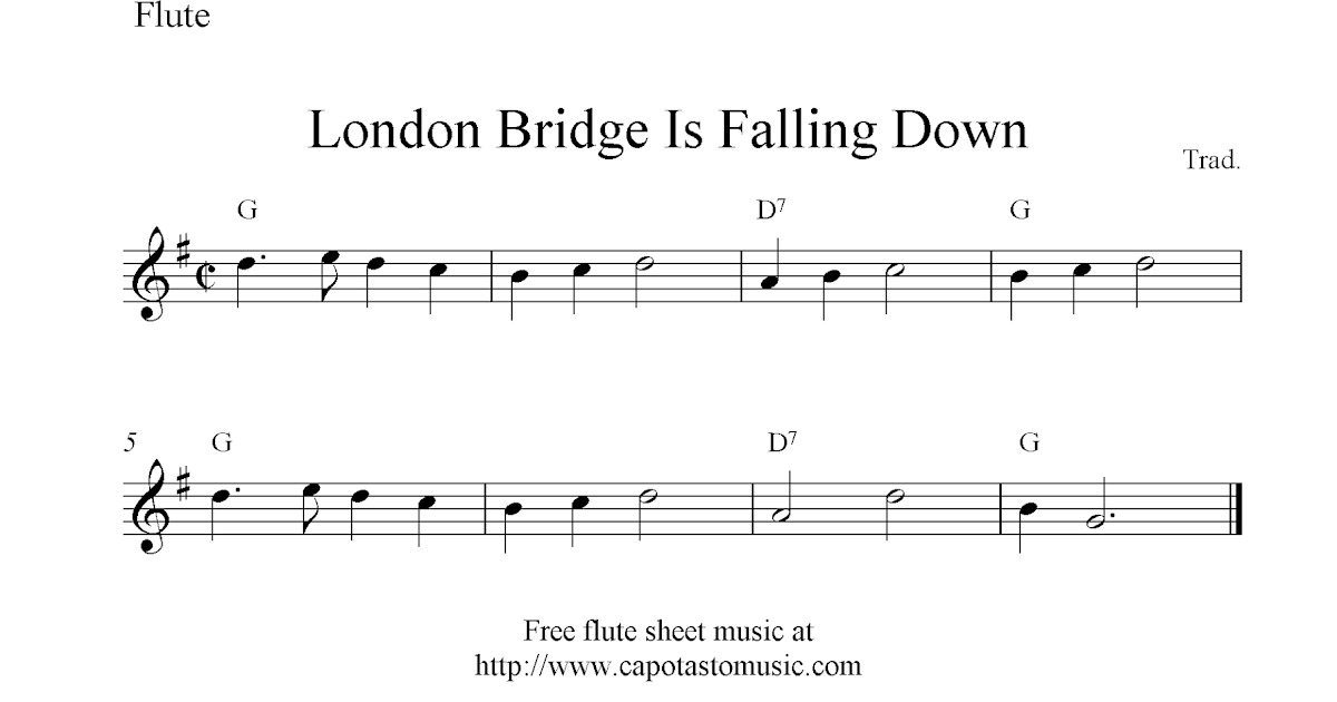London bridge is falling down free flute sheet music notes
