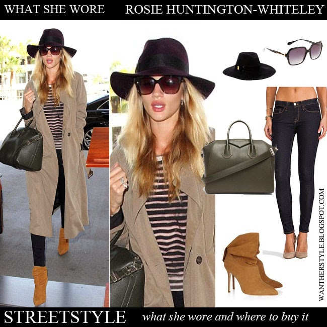 Rosie Huntington-Whiteley in beige trench coat, stripe top, blue skinny jeans, camel suede ankle boots Brian Atwood Cosmic, leather tote and fedora hat Eugenia Lim Want Her Style