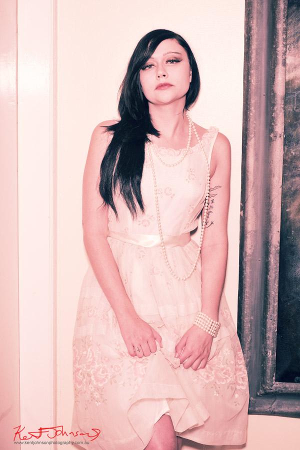 Vintage dress, Retro indie and alternative fashion portfolio shoot.