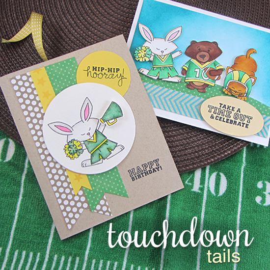 Football and cheerleader cards by Jennifer Jackson | Touchdown Tails stamp set by Newton's Nook Designs #newtonsnook #football #cheerleader