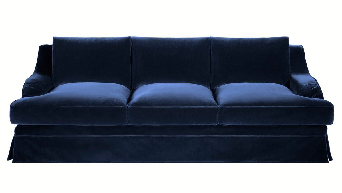 Paris brocante large beautiful navy blue velvet sofa for Blue sofas for sale