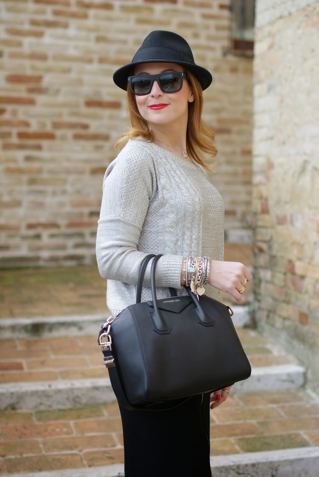 Numph grey sweater, Givenchy Antigona bag, Fashion and Cookies, fashion blogger