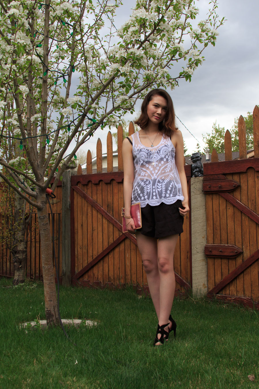 Overalls, Sheer, Lace, Fruit Pattern, Summer, trends, fashion, style, personal style, outfit
