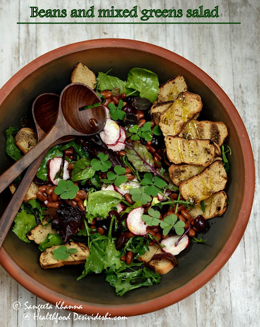 recipe of beans and mixed greens salad and how to keep leafy greens fresh for longer and  ready to use