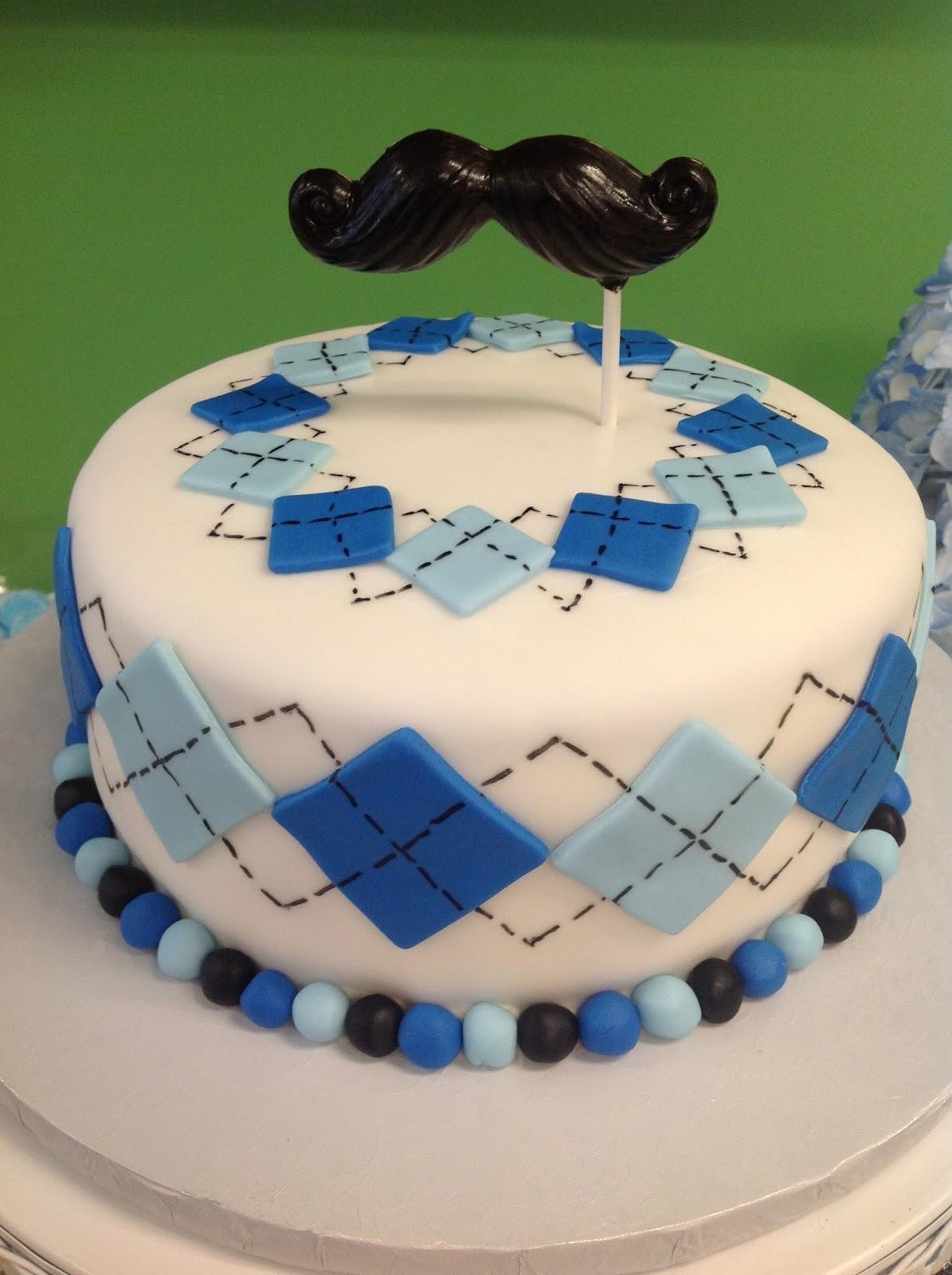 Plumeria Cake Studio Mustache Cake and Cupcakes