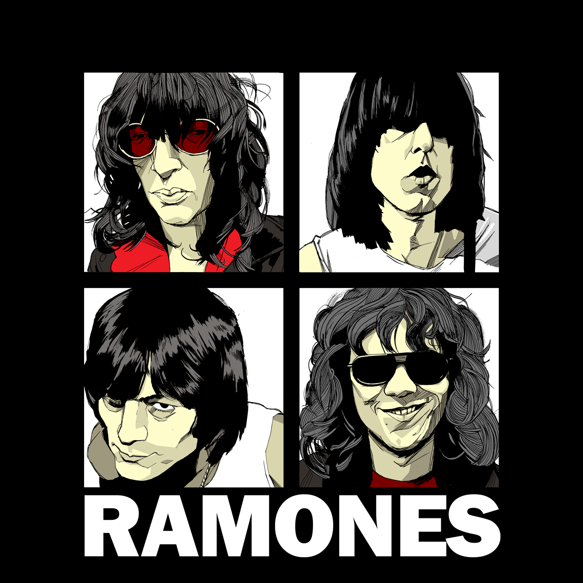 Joey, Johnny Deedee, Tommy Ramones drawing