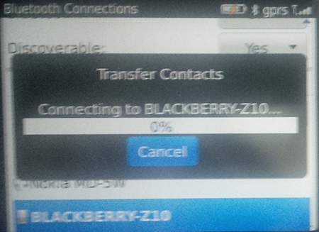 Proses transfer via Bluetooth