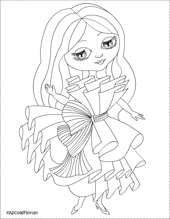 Paper dress for little doll * Coloring and crafting title=