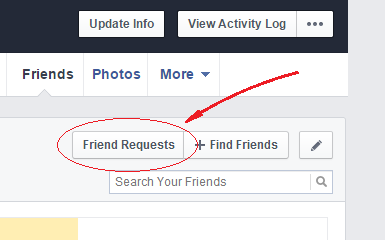 how to find friend requests sent in facebook