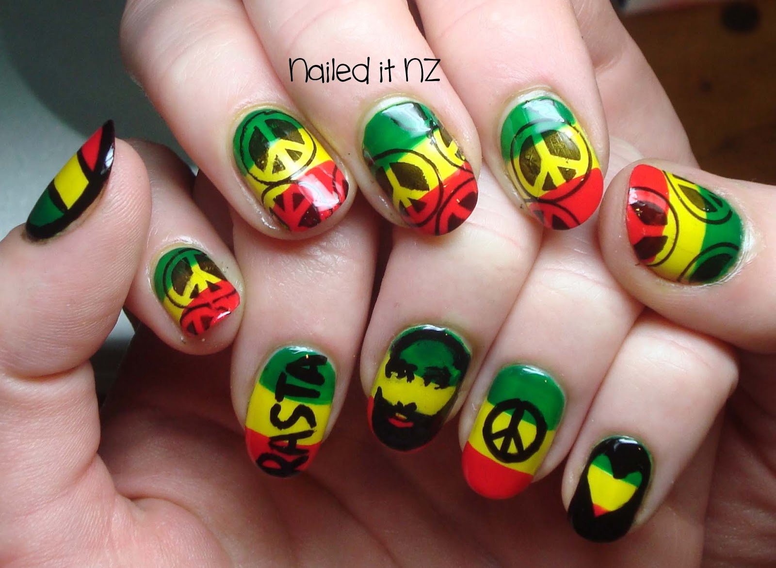 Rasta nails are so hard to do get a born pretty store coupon this is what they looked like before i added on the black quite cool just like this i could have just left them like this but no that would be way too prinsesfo Choice Image