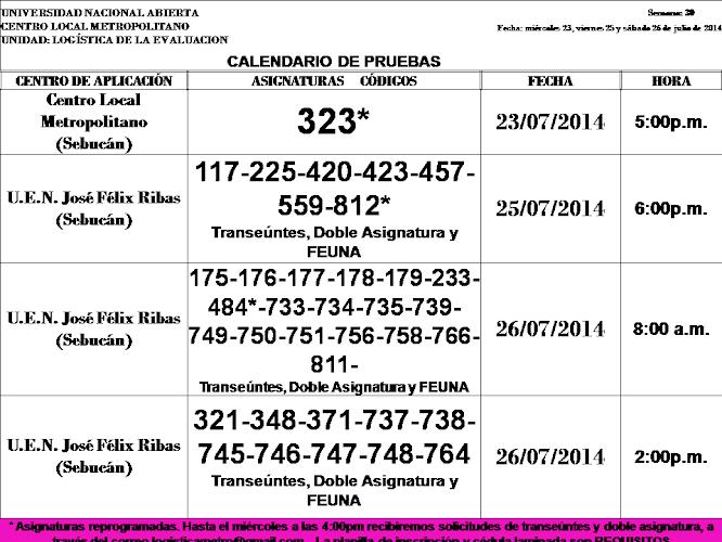 CENTRO DE PRESENTACIÓN EN CARACAS. MIÉRCOLES 23, VIERNES 25 y SÁBADO 26 DE JULIO.