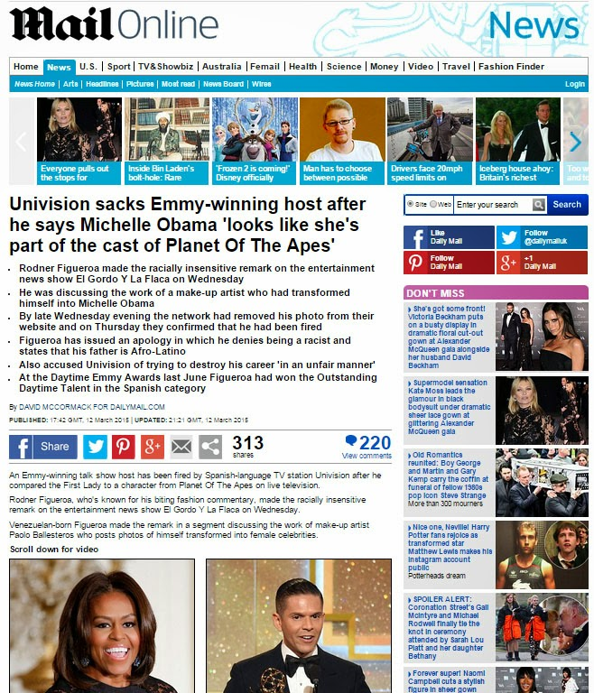 A screenshot of Daily MAil Online publicationd about TV host Figueroa being fired for indecent words about Michelle Obama.