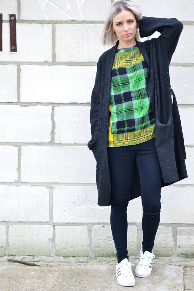 Belgian fashion blogger: Mango wool cardigan, Asos geometric top, oversized, green yellow, black ripped skinny, jeans, high waisted, asos ridley, adidas supercolor superstar w5 sneakers, street style inspiration, trends spring 2015