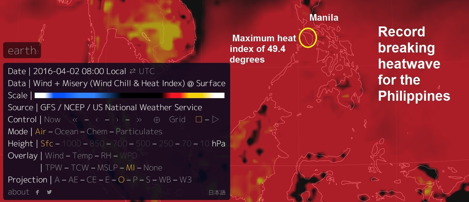 Heat Wave - Philippines: Heat index record broken as a scorching 49.4 degrees Celsius (121F) was...