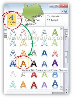Gambar: Cara menambahkan wordart ke dalam dokumen microsoft word 2010