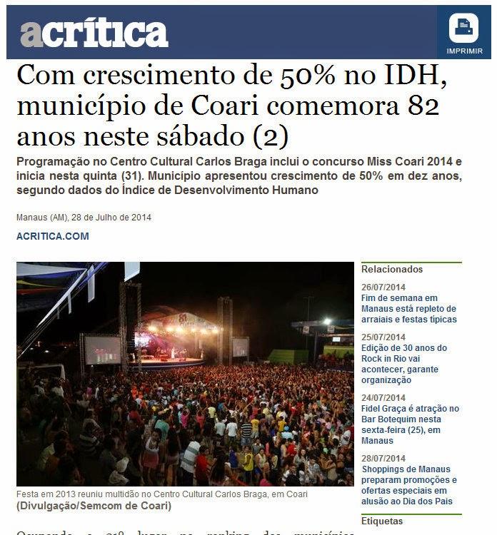 Com crescimento de 50% no IDH, município de Coari comemora 82 anos neste sábado (2)