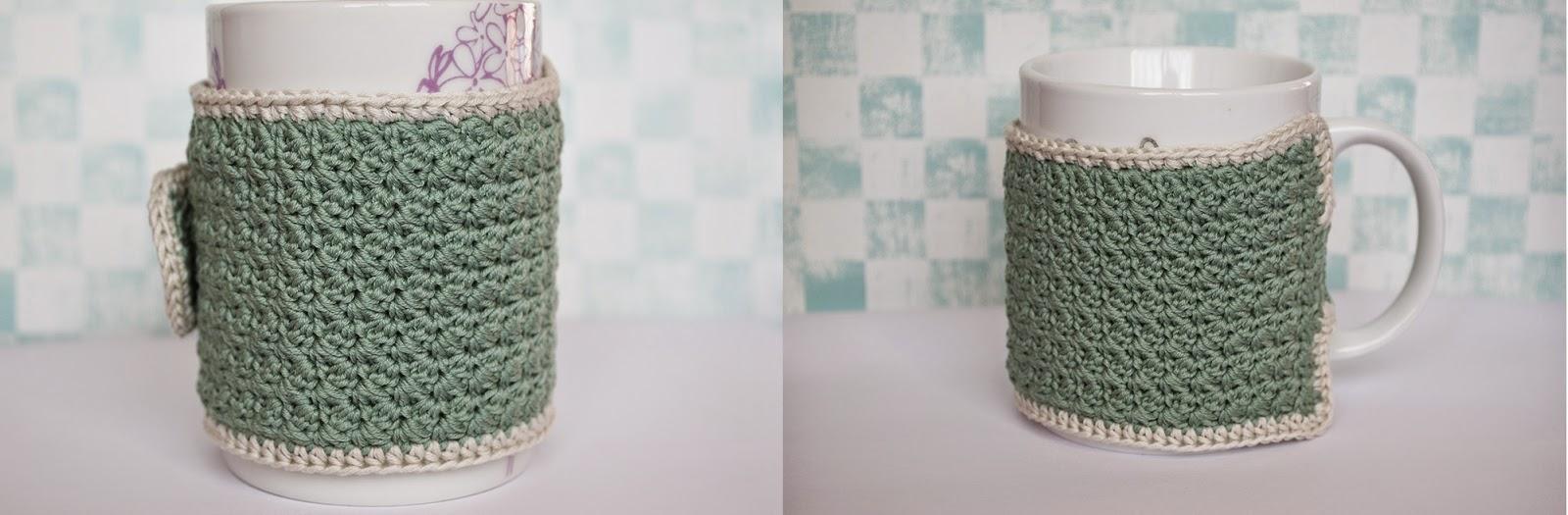 Funda de ganchillo para taza de color jade