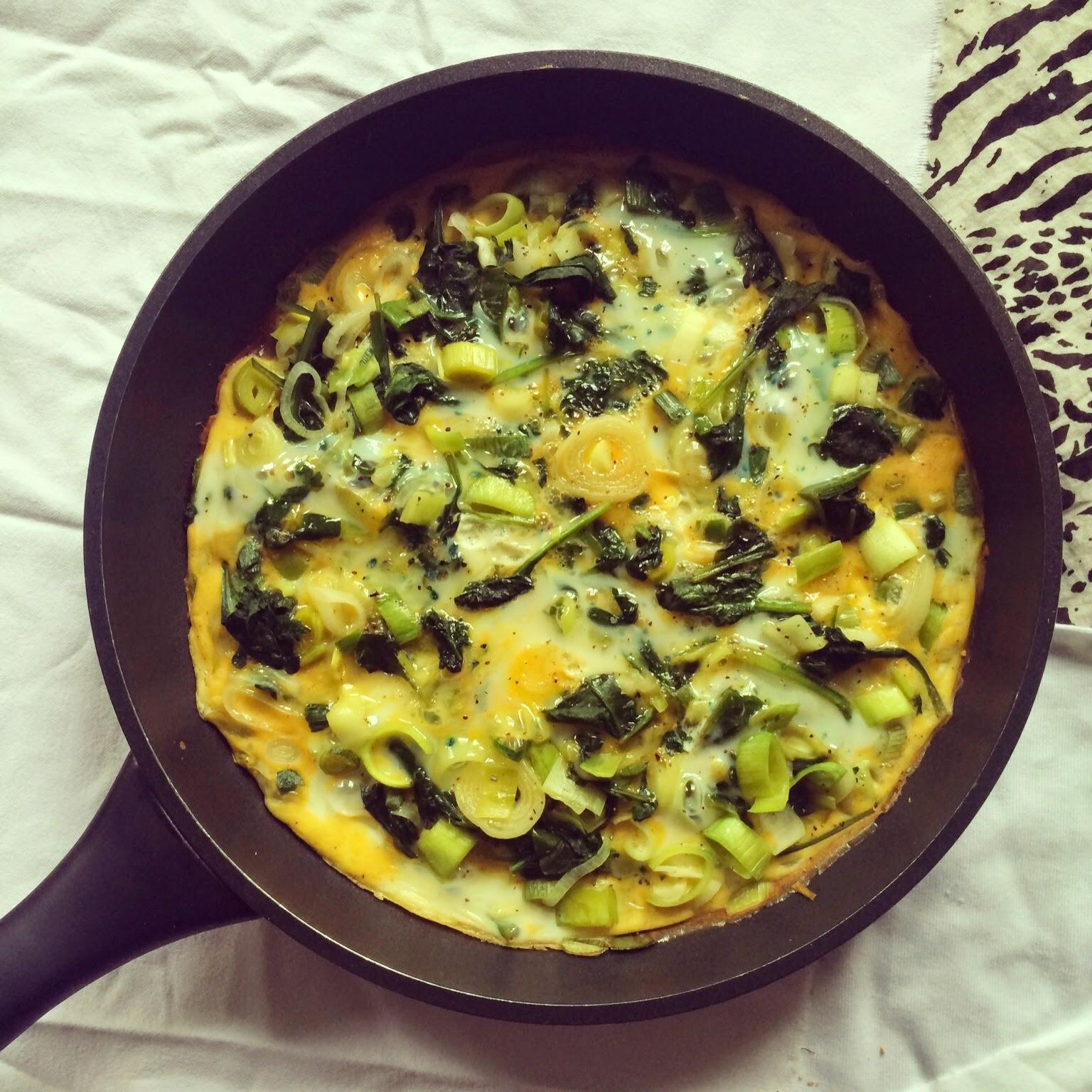 omelette verte épinards poireau oignon nouveau