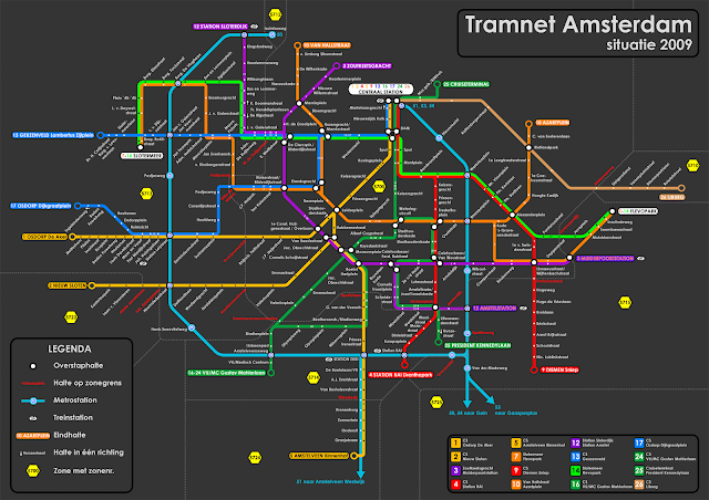 Plano de tranvías de Amsterdam