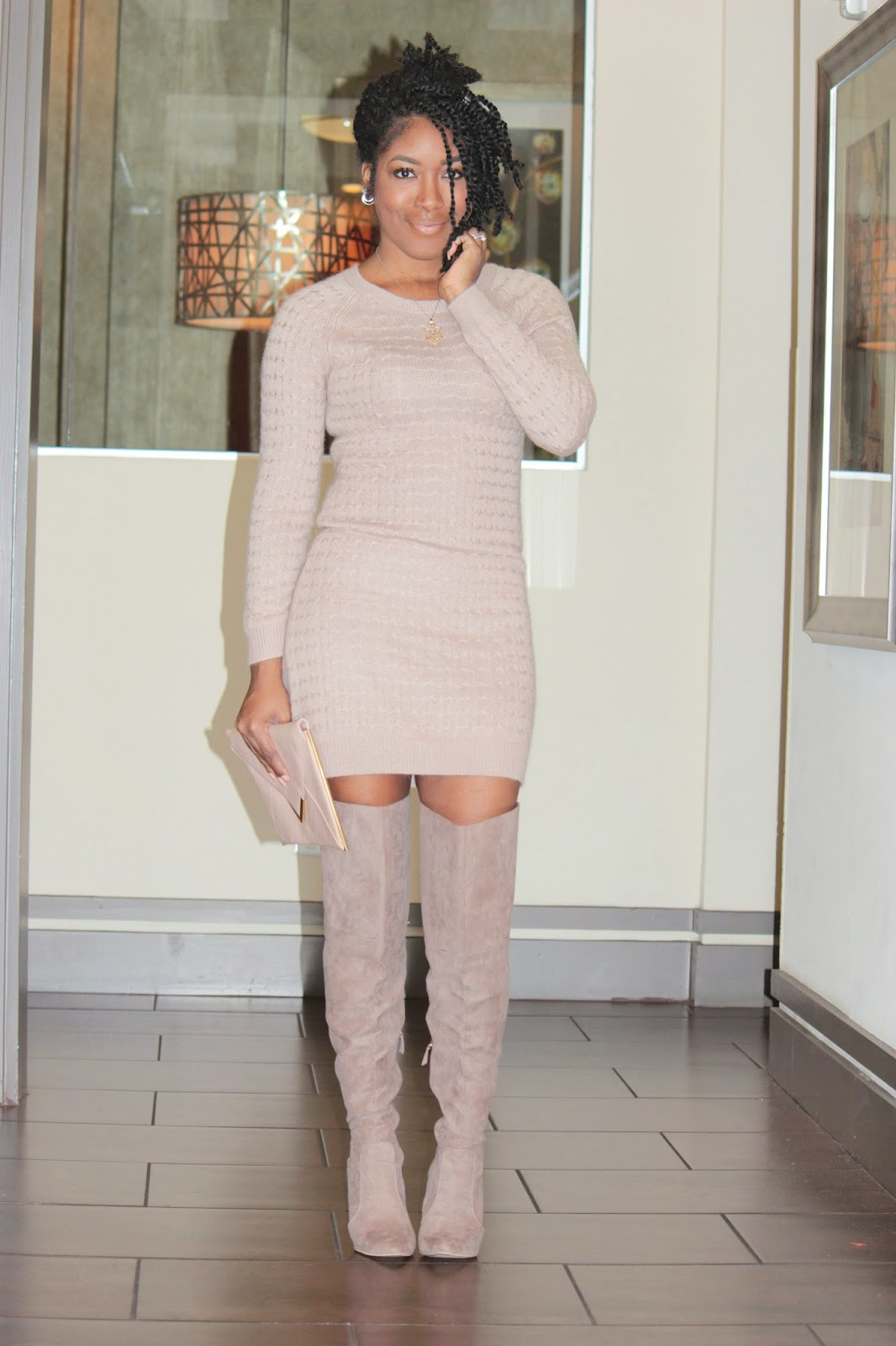 Winter Nudes Trench Coat Thigh High Boots Sweater Dress
