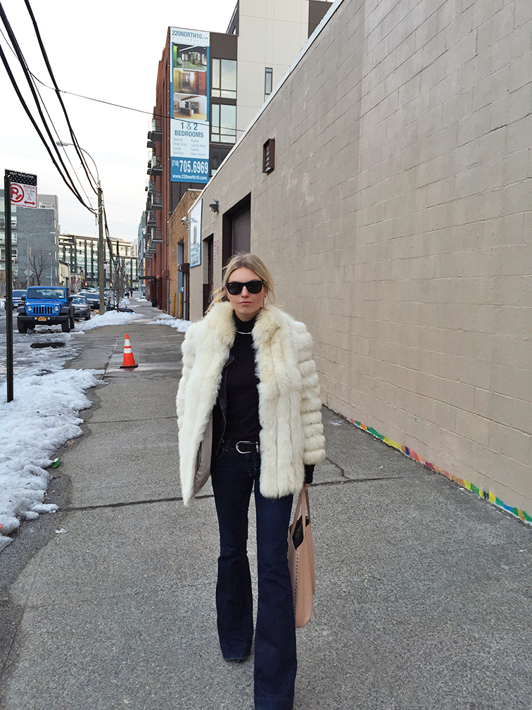 Bell Bottom jeans, J Brand, vintage fur coat, Splendid turtleneck, Zara tote
