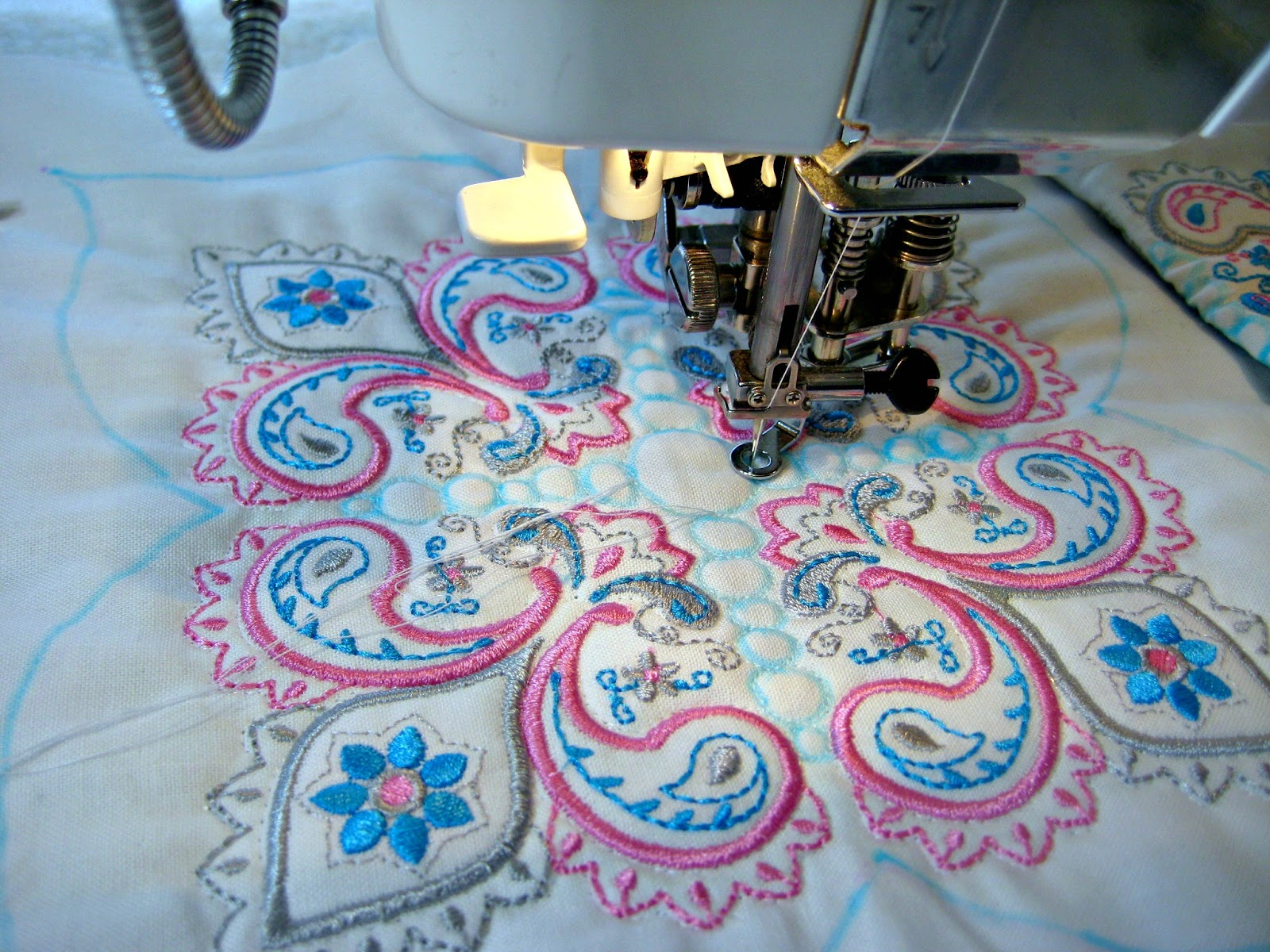 Embroidered and quilted table runner