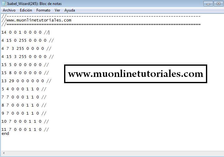 Archivo shop con código de los items