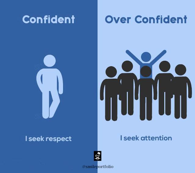 confident people versus overconfident people, respectful