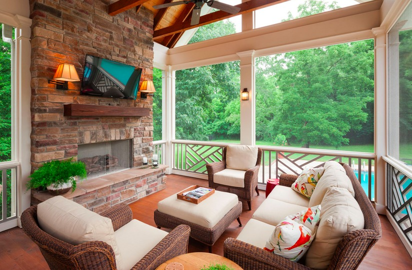 Screen porch w fireplace and tv content in a cottage for Screened in porch fireplace ideas