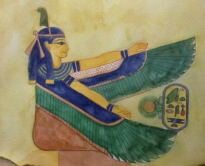 la diosa egipcia maat en acuarela