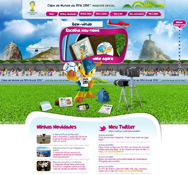 Page d'accueil du site internet de la Mascotte de la Coupe du Monde 2014