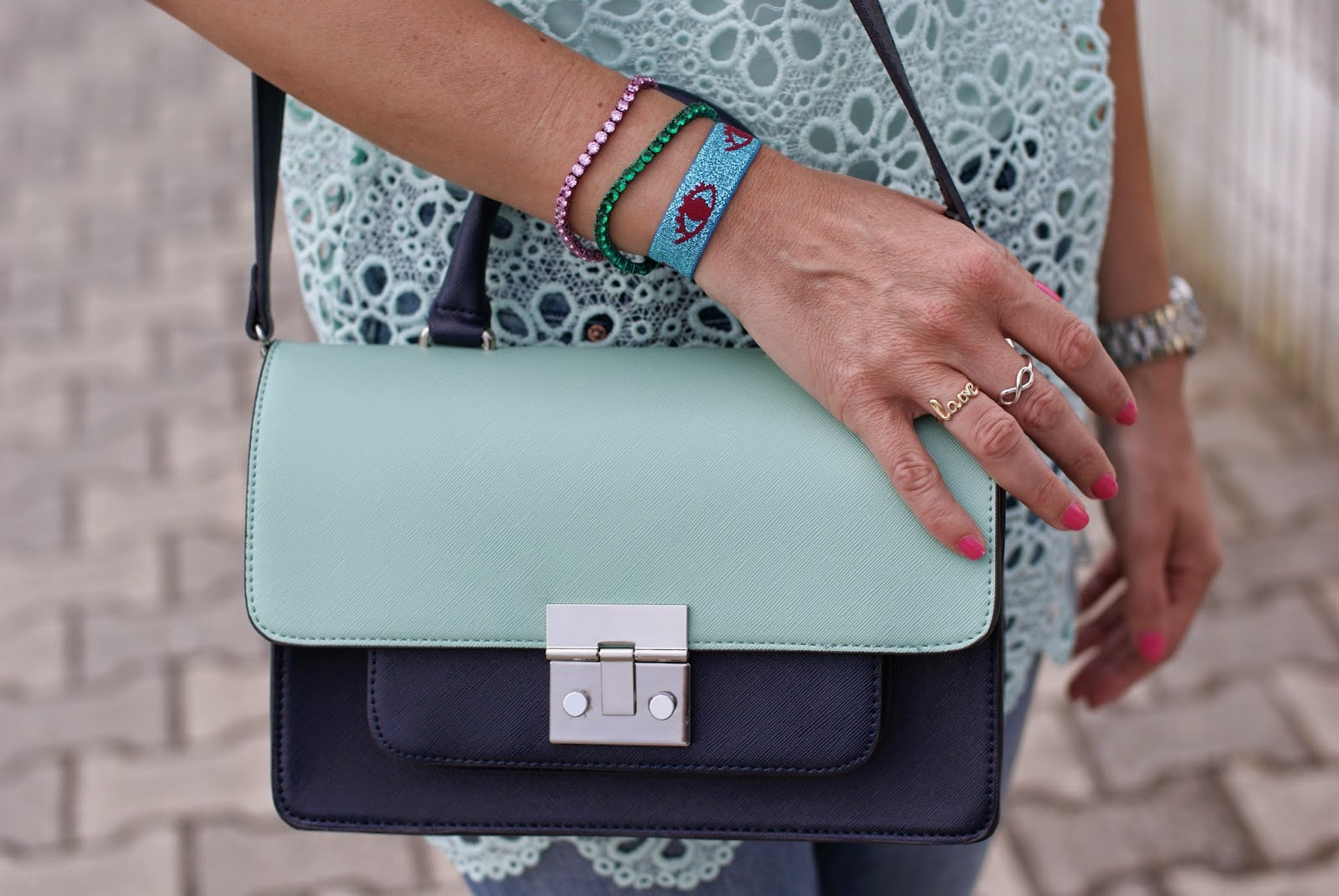 Luca Barra tennis zirconi, ventiquattro bracelets, Miu Miu dupe, Fashion and Cookies, fashion blogger