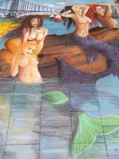 drei Nixen im Wasser