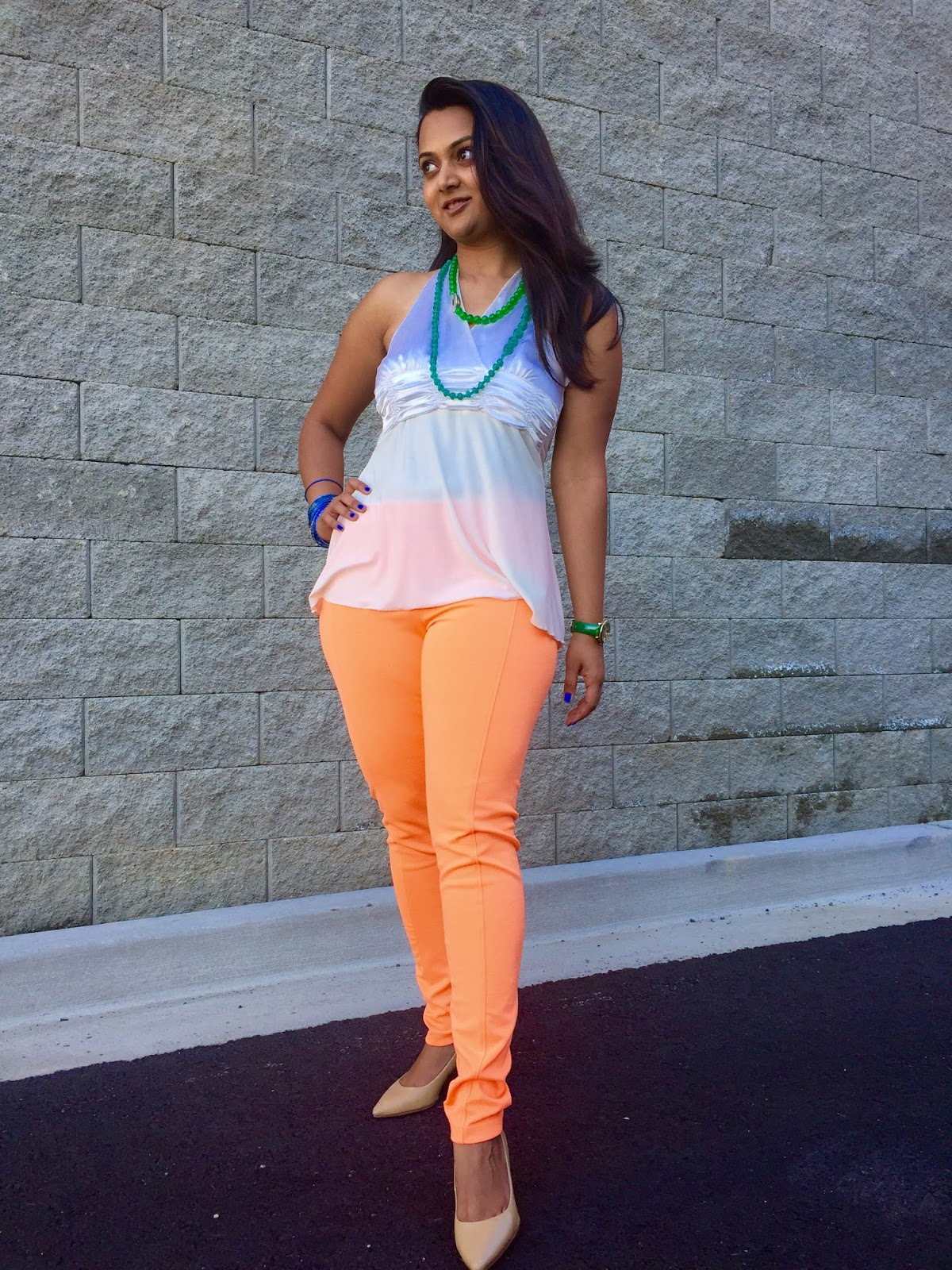 dressing up for Indian Independence day, Tricolor outfit ideas, orange, green and white combination outfit, Ananya in Tricolor