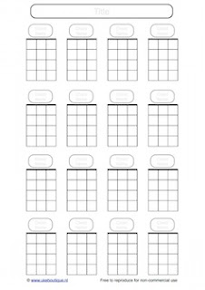 Casillas de acordes para Ukelele. Blank Chords boxes for ukulele