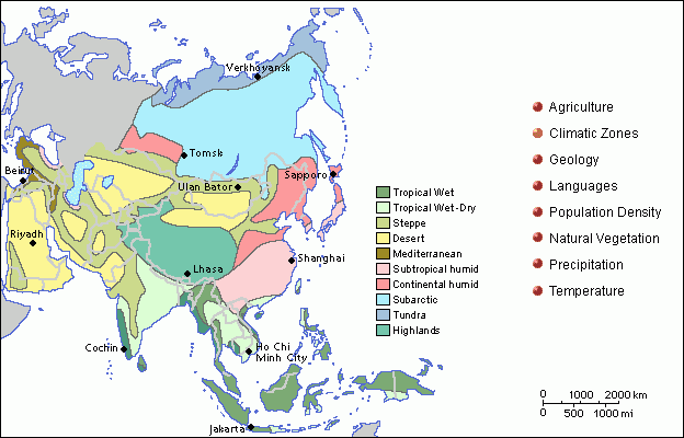 A climate map of Asia showing general types of topographical classifications.